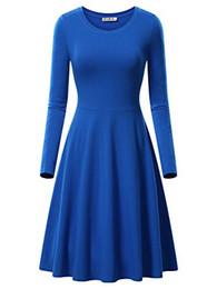 9f0c12d6b76 Кира женщин с длинным рукавом Scoop шеи случайные расклешенные Midi качели  платье