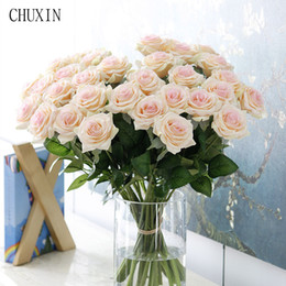 artificial white roses bridal bouquets Coupons - 25pcs lot New Artificial Flowers Rose Peony Flower Home Decoration Wedding Bridal Bouquet Flower High Quality 9 Colors
