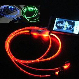 earphone flat Promo Codes - EL LED Luminous Glowing Earphone LED Night Light In Ear Earphones Flat Earbuds Glow In The Dark Headset For Iphone Mobile Phone
