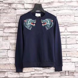 Wholesale Men England Coat - G2018 Luxury brand england style Men's Sweatshirts fashion sweater wolf embroidery casual coat 100% Cotton M-XXXL
