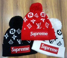 Wholesale boys beanie hats - Hight quality men women autumn winter sup beanie casual knitted sports cap ski gorro black white red skull caps