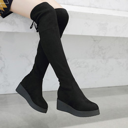 7e6a19fa0646 6cm High Heels Boots Women Winter Over Knee Boots Womens Fashion Thigh High  Comfortable Ladies Wedge Platform inexpensive womens high heel wedge boots