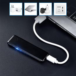 Ligero ultra delgado online-Último Sensor de huellas dactilares ultrafino Encendedor sin llama Encendedor de cigarrillos Recargable USB Encendedor a prueba de viento Encendedor de cigarrillos de doble arco