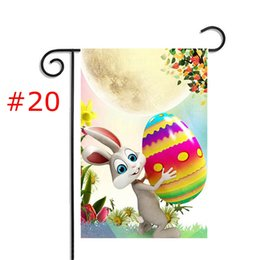 Wholesale Egg House - Happy Easter Holiday Prints Bunny easter Day Egg Garden Flag 30*45cm Jute Ruffles DIY Yard Hanging Flag House Decoration Portable Banner