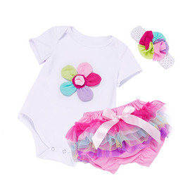 Wholesale newborn boy bloomers - New Summer Baby Girl Clothing Sets Cotton Rainbow Flower Short Sleeve Rompers and Ruffle Bloomers Newborn Infant Girls Clothes