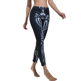 skeleton yoga pants Promo Codes - Freeskin 2018 New Women's Skeleton Personality Elastic Fitness Leggings Yoga Pants Fitness Gym Running Leggings