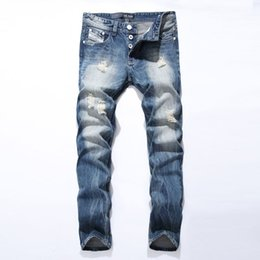 aed1377d15c New Arrival Fashion Mens Jeans Straight Fit Leisure Quality Cotton Biker  Jeans Denim Trousers CN Brand Ripped Jeans Pants