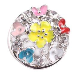 Wholesale Porcelain Cross - Colorful Enamel Flower Snap Button Charms For DIY Interchangeable Charm Bracelet Rings Jewelry Fine Snap Jewelry Findings