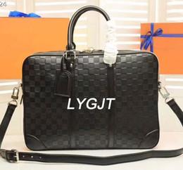 Wholesale Genuine Laptops - AAAAA Business Briefcase Leather Men Bag Computer Laptop Handbag Man Shoulder Bag Messenger Bags Men's Travel Bags Black