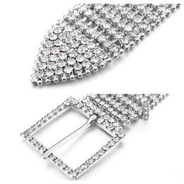 Wholesale Wide Metal Belt Silver - 8 Rows Full Cubic Zirconia Wedding Belt Sparkling Rhinestone Chain Belt Wide Waist Chain Belt Cintos Femenino Belts & Accessories