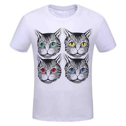 Wholesale Cat Street - Top Quality Brand T-shirt Four Cat Pattern Casual Tee Designer Tide t shirt cats couple street wear white black jersey 4020