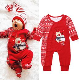 f0e2a270fc850 Noël bébé filles garçons Rennes rouge pyjamas combinaison nouveau-né bébé  Body rayé barboteuse hiver gros Noël vêtements de bébé baby girl body  winter pas ...