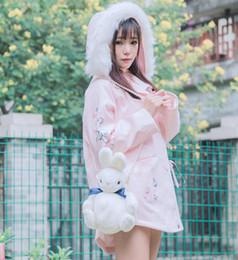 2019 giacche di pelliccia rosa Donne Ragazze Cute Pink Jacket Lolita  Inverno Addensare Cartoon Cappotto di 25ee07a9158