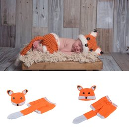Wholesale Baby Knitting Designs - Cute Fox Design Infant Baby Crochet Outfit Photo Props Knitted Newborn Babies Animal Costume Handmade Baby Photo Clohitng Unisex