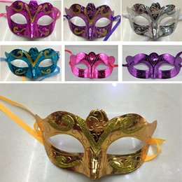 Wholesale glitter masquerade masks - Colorful Party Mask With Gold Glitter Halloween Costume Unisex Festival Party Bar Butterfly Masquerade Venetian Mask For Christmas HH7-1205