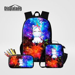 25eb81fe664c 3 PCS Set Backpack School Bag Pencil Case Lunchbox For Girl Boy Universe  Space Unicorn Children Bagpack Womens Rucksack Knapsack