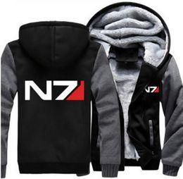 2019 chaqueta de efecto masivo n7 Dropshipping Mass Effect N7 para hombre con capucha chaqueta de la cremallera sudadera invierno calor Fleece espesar chaqueta con capucha abrigo chaqueta de efecto masivo n7 baratos