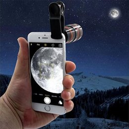 Wholesale Mobile Phone Telescope Camera Lens - Telescope Lens 12x Zoom Optical Camera Telephoto len with clip for Iphone Samsung HTC Sony LG mobile smart cell phone