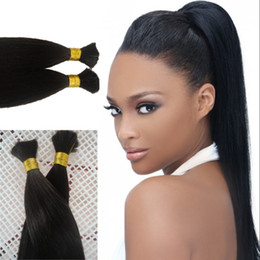 bulk hair dye Promo Codes - Top Quality Brazilian Human Hair Bulk 4 Bundles Silky Straight Braiding Hair Bulk Natural Color Can Be Dyed FDSHINE