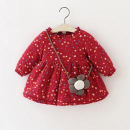 Платья для девочек из флиса онлайн-Симпатичные новорожденных девочек Звезда печати платья плюс флис 2018 зима дети бутик одежды 1-4 Т маленькие дети девочки платья с сумкой
