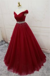 v neck ball dress Promo Codes - 2018 Hot Sale Tulle Evening Dress Vestido Longo Fashion V-Neck Off-Shoulder Crystal Waist Lace-up Celebrity Formal Celebrity Dresses BQ47