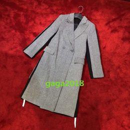 Gabardina de invierno mujer gris online-Las mujeres de la muchacha del remiendo de la chaqueta larga abrigo gris cálido traje para dama de la oficina de color de gama alta de las mujeres vogue desgaste gabardina otoño invierno