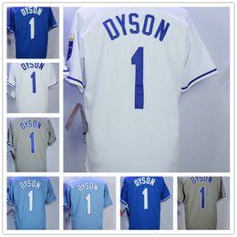 Wholesale purple pullovers - Kansas City 1 Jarrod DysonMen Baseball Jersey Cream White Grey Baby Blue Dark Pullover Cool Base Stitched Home Awaya