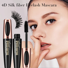 Extensions de fibres de mascara en Ligne-New Hot 4D Mascara Fiber De Soie Mascara Etanche Pour Extension De Cils Noir Épais Allongement Des Cils