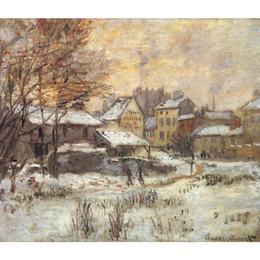 Pitture a olio sette sole online-Arte moderna Effetto neve con tramonto Sole Claude Monet dipinti ad olio su tela Decorazione murale dipinta a mano