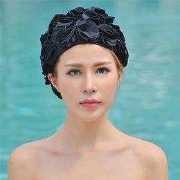 ccbdc4e8114 2019 ladies swim cap 3D Flores Mujeres Gorra de Natación Adulto Nadar  Deportes Piscina traje de