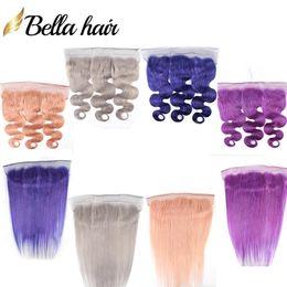 Spitzenverschluss grau online-Bella Hair®10A Buntes Spitze-Frontverschluss-Menschenhaar 13 * 4 Ohr zu Ohr Rosa Blau Lila Grau Blond Farben Gerade Körperwelle Haarverschlüsse
