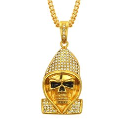 gold dog tags wholesale Promo Codes - Eco-friendly Skeleton pendant necklace high quality best price alloy gold silver plated exaggerate men crystal diamond hiphop rap necklace