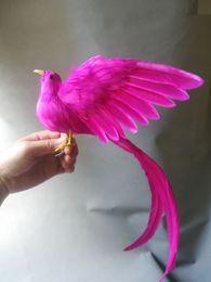 2019 jardim de penas Vida real brinquedo hot pink penas cauda longa modelo de pássaro sobre 50x30 cm asas de propagação pássaro decoração do jardim prop brinquedo h1010 jardim de penas barato