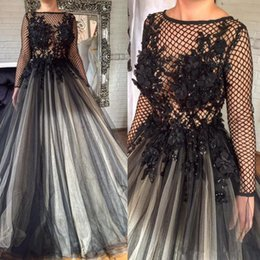 Wholesale Jewel Beaded Net Dress - Glamorous Black 3D Florals Appliques Formal Evening Dresses Pleated Nets Long Sleeve Ashi Studio Dubai Arabic Muslim Prom Party Gowns