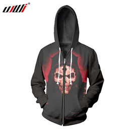 red printers Promo Codes - UJWI Men 2018 HOT SALE Fashion Mens Casual 3D Printer Red Skull Black Zipper Pullove Novelty Zip Fleece Harajuku
