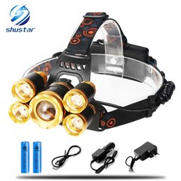 Wholesale cycle headlamp - Rechargeable LED Headlamp Super Bright 5 LED 15000 Lumens Zoomable Waterproof CREE Headlamps Headlight for Cycling Running