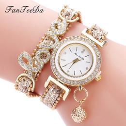 Mira palabras online-FanTeeDa Marca de Moda de Lujo Relojes de pulsera de Mujer Palabra de Amor Correa de Cuero Reloj de Pulsera de Señoras Reloj de Cuarzo Casual