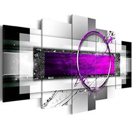 Decoración del hogar contemporáneo online-Amosi Art Canvas Canvas Purple Abstract Geometric Drawing Print Pintura contemporánea para la decoración del hogar 5 piezas de arte enmarcado