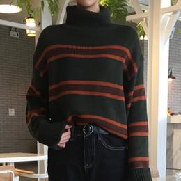 Mulheres de camisola de gola alta de acrílico on-line-Outono Inverno Mulheres Listrado Camisola De Malha Solto Acrílico Gola Alta Camisola Ocasional Estilo de Rua de Manga Comprida Pollovers