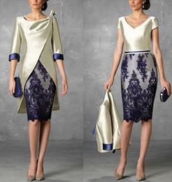 Due pezzi abiti per la madre sposa online-2018 waishidress due pezzi corti madre della sposa abiti 1/2 maniche pizzo madre dello sposo abiti guaina abiti da sera