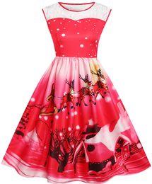 2019 abbigliamento swing Il vestito dal costume di Natale per le donne ha stampato i vestiti da partito dell'oscillazione sleeveless stampato vestiti femminili liberi di trasporto FS3665 abbigliamento swing economici