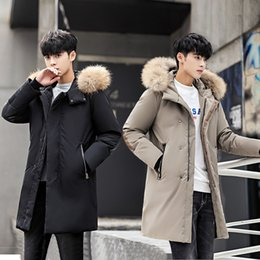Мужская куртка из черной шерсти онлайн-Men Wool Collar Down Jacket 2018 Mens Thicken Casual Long Black Down Coat Male Korean Warm Winter Windbreaker