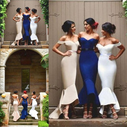 gold ankle length bridesmaid dresses Coupons - Mermaid Ruffles High Low Bridesmaid Dresses 2019 Sexy Off the Shoulders Lace Up Back Ankle Length Maid of Honor Wedding Gowns