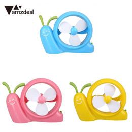 Wholesale Small Portable Fans Wholesale - AMZDEAL For Snail shape mini Small Fan Cooling Portable Handheld Fan USB Rechargeable Desktop Student Office Mute