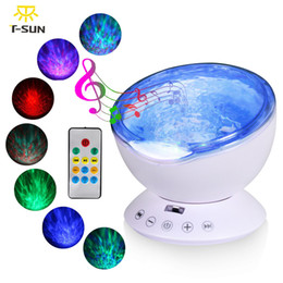 Wholesale Baby Projector Lamps - T-SUNRISE Ocean Wave Music Night Light Projector with Built-in Mini Music Player USB Lamp LED Night light for Baby Children Room