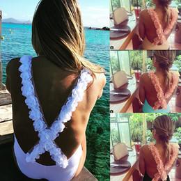 Frauen einteiliger Badeanzug Backless Body 3D Flower Strap Nachtclub Stretch White Bademode Plus Größe ein Stück Bikini Sexy Beach Wear von Fabrikanten