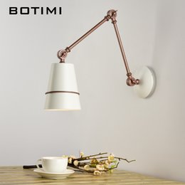 Wholesale Reading Lights For Bedside - BOTIMI Adjustable Wall Lamp With Switch LED Wall Sconce White Metal light Bedside Lamps For Home Reading Lighting Fixtures
