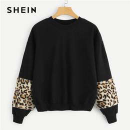 508b9dd5467609 Ingrosso maglione leopardo delle donne nero in vendita - SHEIN Nero Preppy  Elegante Leopard Print Sleeve