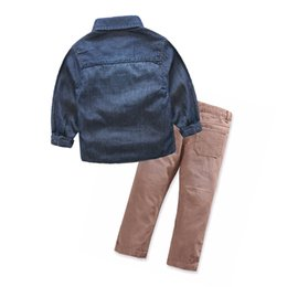 Wholesale Corduroy Jeans - Cartoon kids boys clothing sets Little monsters denim Shirt + jeans autumn 2pcs sets for children boys clothing sets Outfits