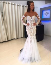 Wholesale Elegant Silk Backless Halter Dress - vestidos de formatura Mermaid Long Sleeves Sheer See Through Neck White Lace Champagne Sexy Elegant Prom Dresses Evening Gown
